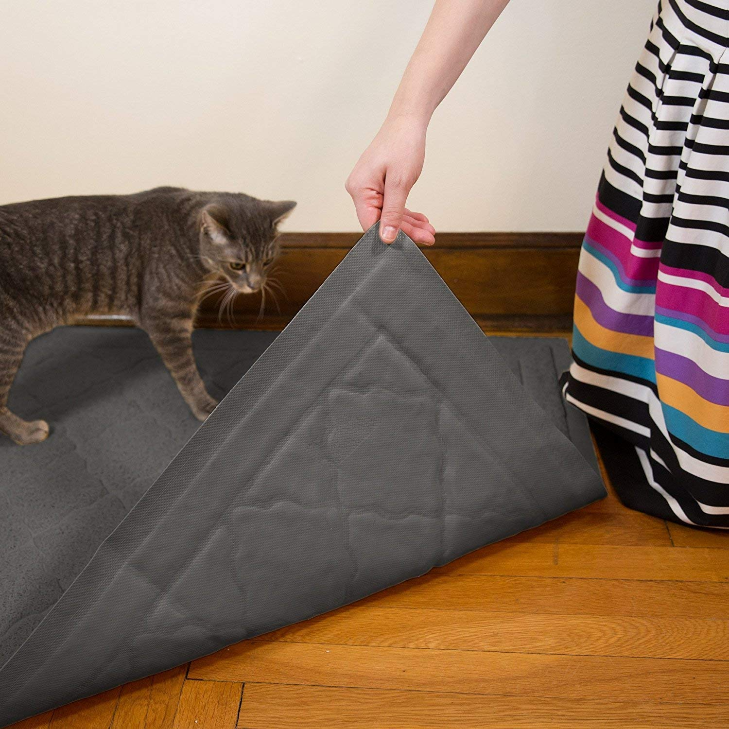 Litter Box Mat with Scatter Control Easy Clean Durable Phthalate Free Soft on Kitty Paws Jumbo Litter Mat 47 x 36 Cat Litter Mat Traps Messes