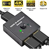 Uervoton HDMI Switch 4K, 2 Ports Bi-directional HDMI Splitter 1 In 2 Out or 2 In 1 Out, Supports Ultra HD 4K, 3D, 1080P, 4K @60Hz for Nintendo Switch, Ps4, Ps3, Xbox One, Roku 3 and HDTV