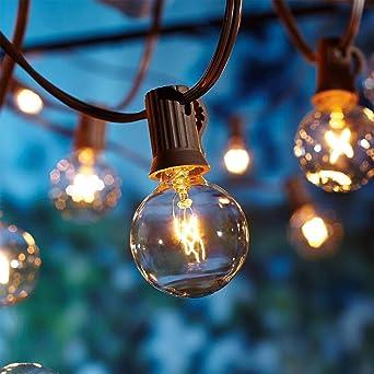 Outdoor Garden String Lights 25ft G40 Patio Outside String Lights Waterproof Indoor Outdoor Festoon Lights For Terrace Xmas Wedding Party Decoration 25 Bulbs 3 Spare Bulbs Amazon Co Uk Kitchen Home
