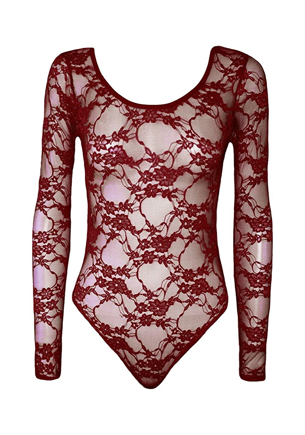 New Women Floral Lace Long Sleeve Stretch Round Neck Leotard Bodysuit TShirt Top UK