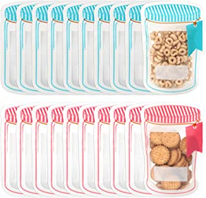 20 Pack Mason Jar Food Storage Zipper Bags, Reusable Airtight Seal Mylar Bags, Leak-Proof Candy Bags Food Saver Bag for Travel Camping and Kids (20 Pack,Pink&Blue)