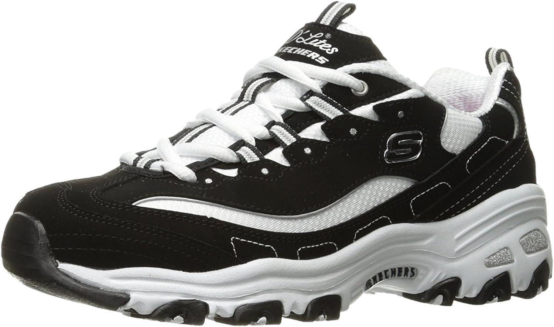 Skechers Damen D\'lites-Biggest Fan-11930 Sneaker, schwarz Schwarz Weiß