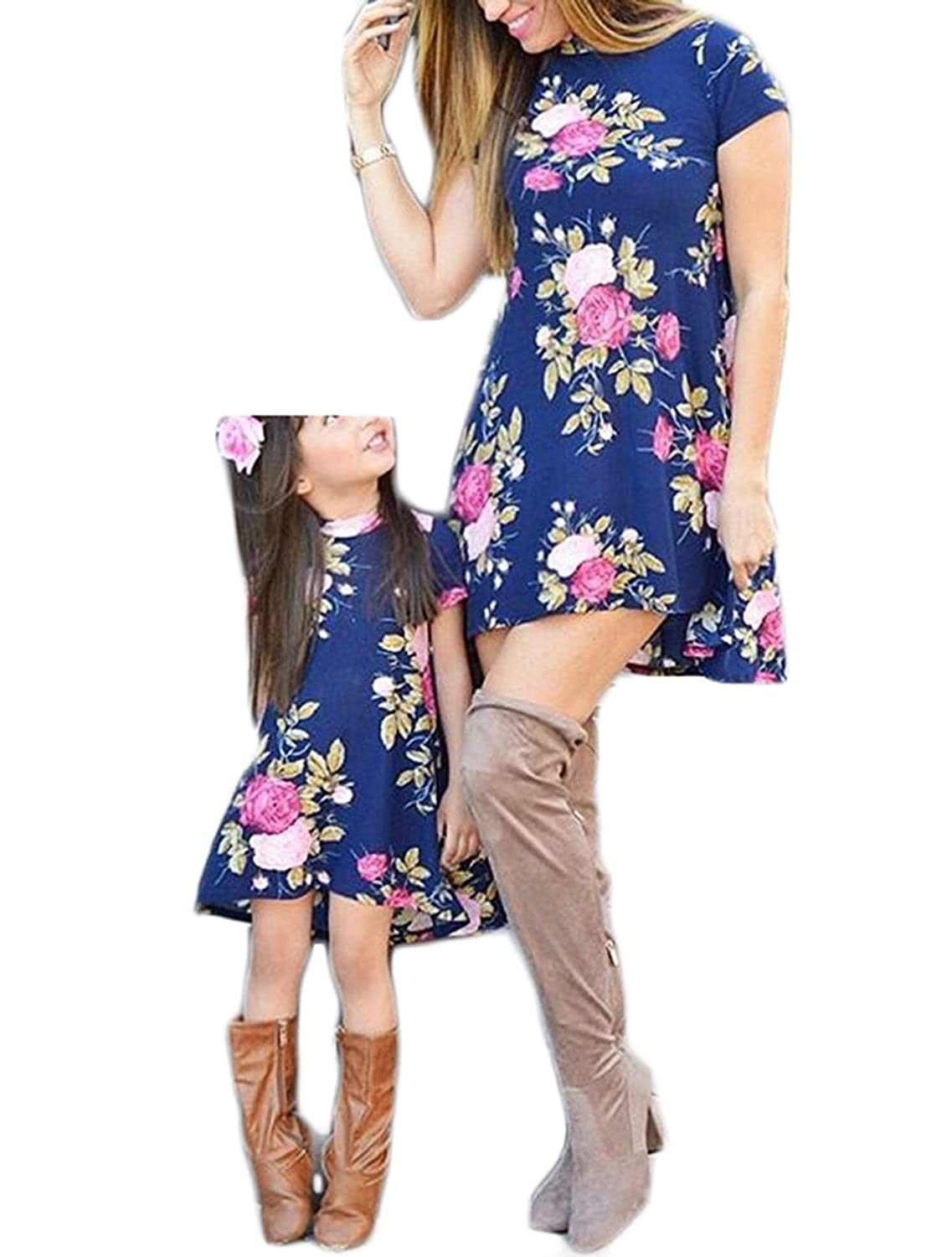 WIFORNT Mommy and Me Matching Floral Mini Dress Short Sleeve Sundress Family Outfits