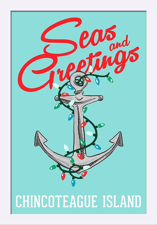 Virginia 16x24 Giclee Art Print, Gallery Framed, Espresso Wood Chincoteague Island Seas and Greetings Anchor