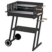 Spanferkelgrill XXL schwarz Turning Roaster Garten Balkon ✔ Rollen ✔ eckig ✔ rollbar ✔ stehend grillen ✔ Grillen mit Holzkohle ✔ mit Rädern