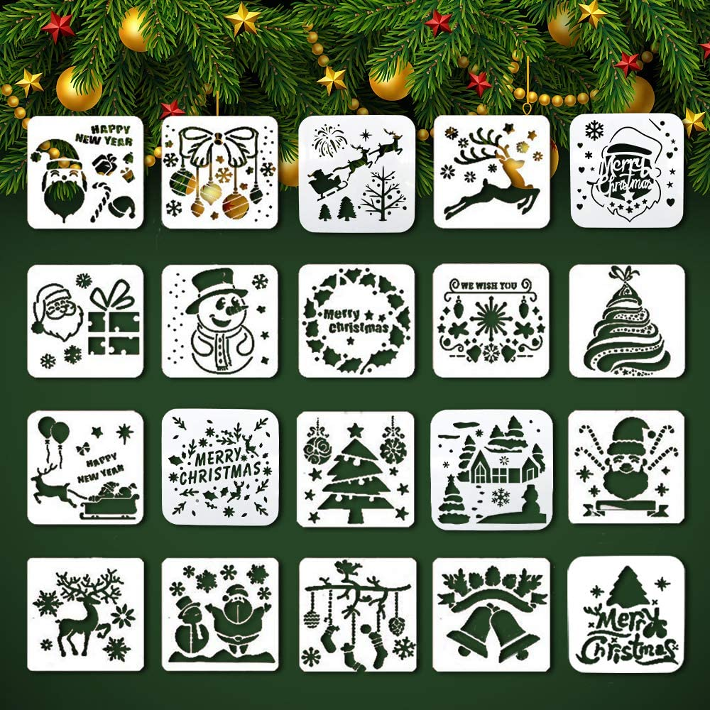 20 Pack Christmas Stencils, Christmas Painting Stencil, 6x6 Plastic Template Crafts Reusable for Art Drawing, Wood, Window, Door, Car Body, Greeting Cards, Albums, Scrapbook, Notebook, Wall Decor