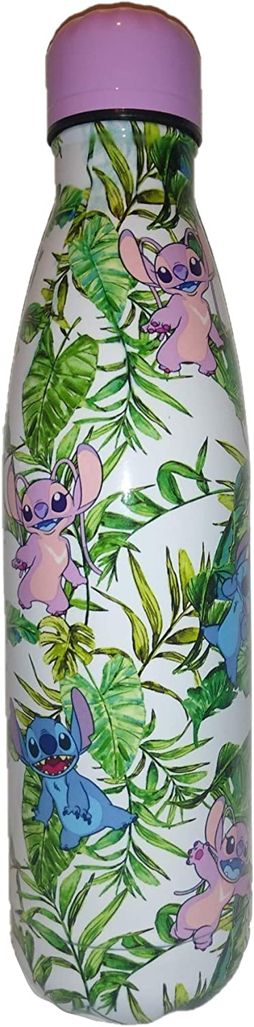 Botella de agua de acero inoxidable Lilo and Stitch and Angel 500 ml, con estampado tropical