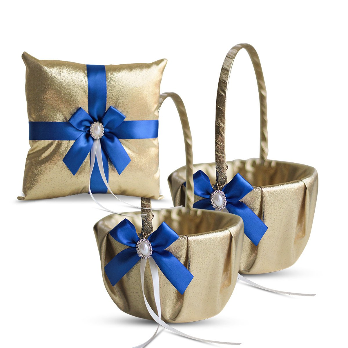 RomanStore Gold & Royal Blue Wedding Ring Bearer Pillow and Flower Girl Basket Set - Satin & Ribbons - Pairs Well with Most Dresses & Themes - Splendour Every Wedding Deserves