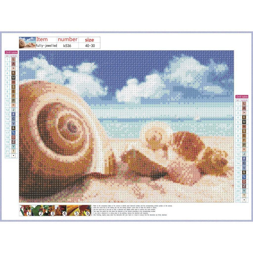 aliveGOT Seashells and Starfish 5D Diamond Painting Kits Full Drill Crystal DIY Wall Sticker Diamond Cross Stitch Embroidery Paintings