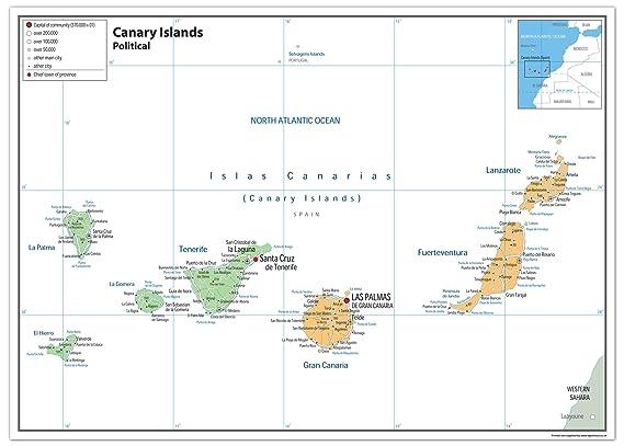 Islas Canarias Mapa Político - Papel laminado [ga], color ...
