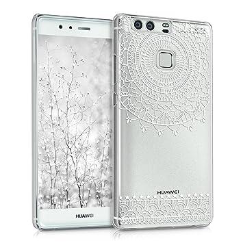 kwmobile Funda para Huawei P9 - Carcasa de [plástico] para móvil - Protector [Trasero] en [Blanco/Transparente]
