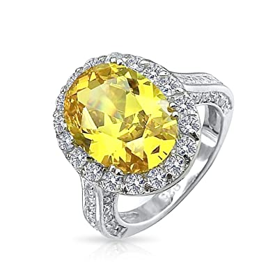 bce88e2ca791 Bling Jewelry 925 Sterling Silver Oval 6 Carat CZ Canary Yellow Engagement  Ring - Size 4
