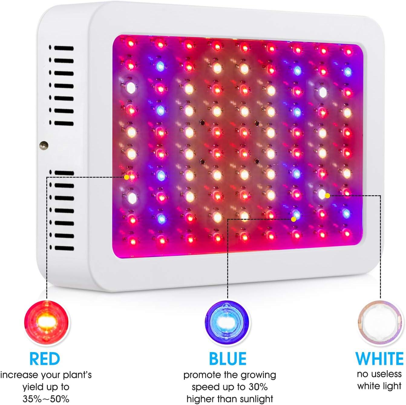 Giixer 1000W LED Grow Light, Dual Switch & Dual Chips Full Spectrum LED Grow Light Hydroponic Indoor Plants Veg and Flower-1000 wattt ( 10W LEDs 100Pcs): Home Improvement