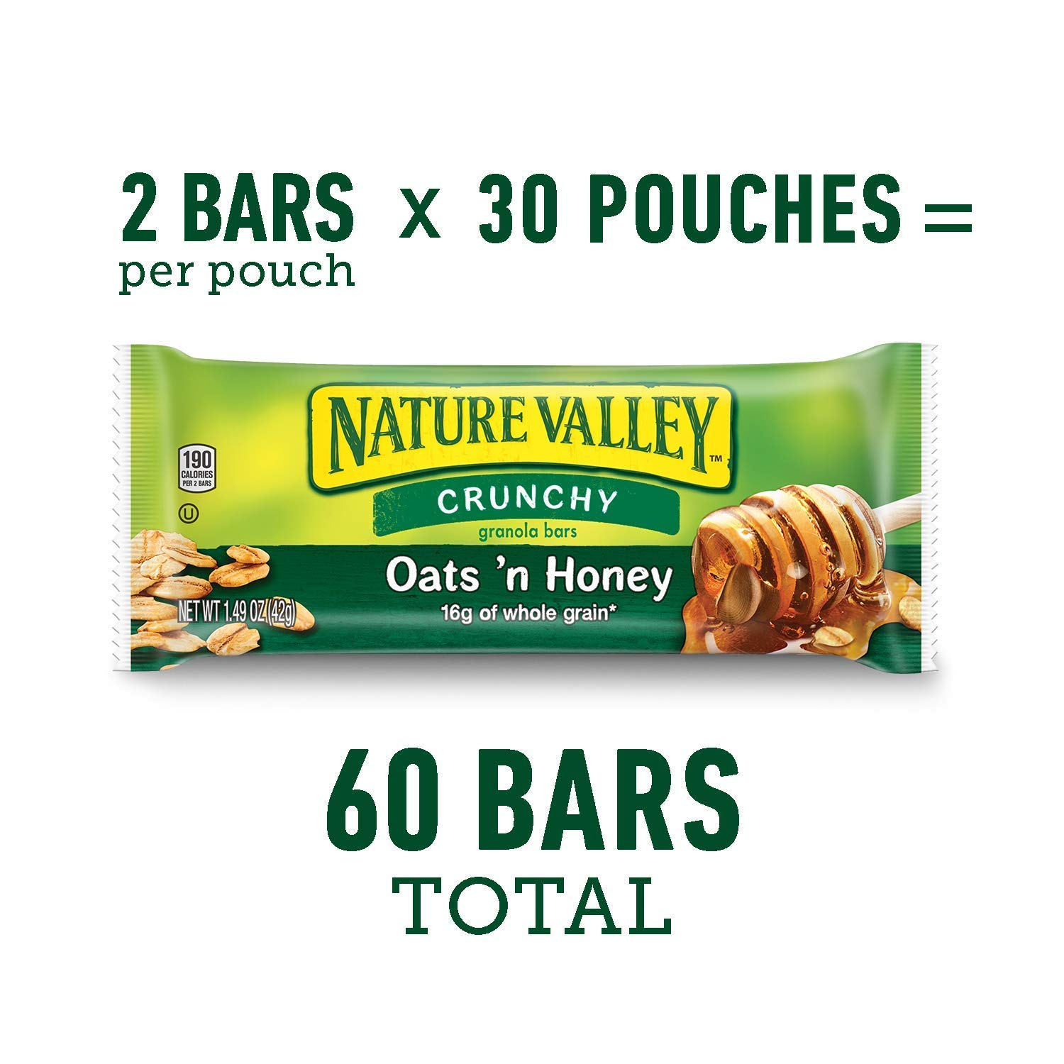 Nature's Valley granola bars, Crunchy Oats N Honey, 60 Count by Nature Valley (Image #1)