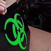 ERREINGE STICKER PRESPAZIATO ARGENTO 25cm Adesivo Decal Decalcolmania Vinile Murale Laptop Auto Moto Casco Camper Radiattivo Nucleare Veleno Biohazard