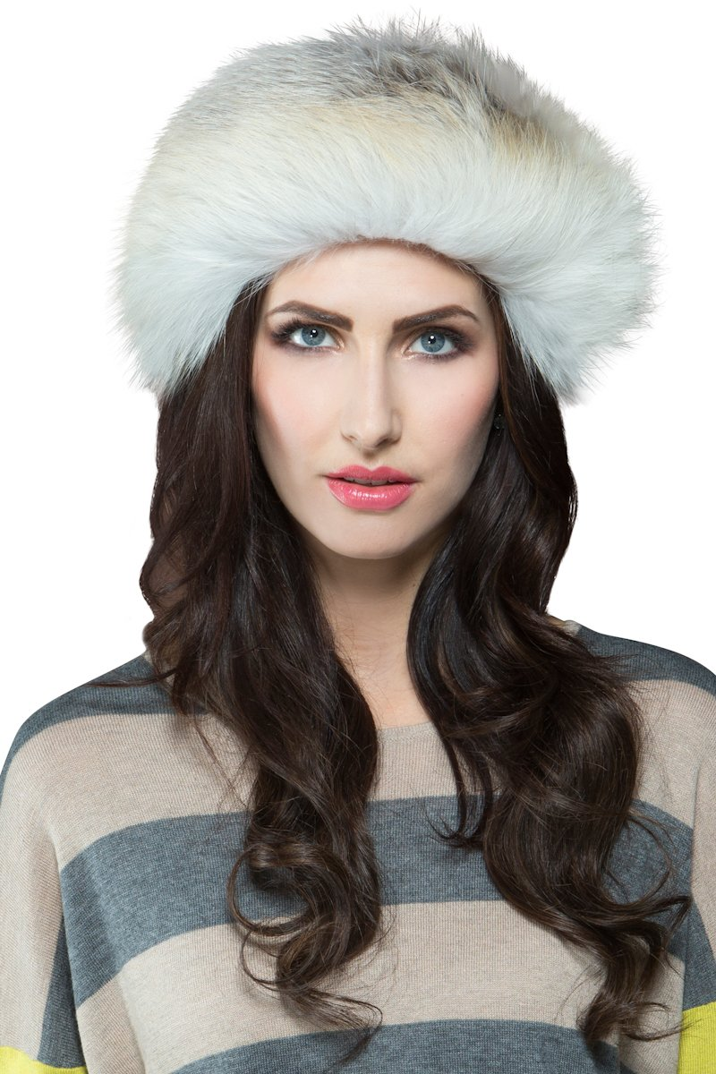 EM-EL Women's Golden Island Shadow Fox Fur Headband by EM-EL
