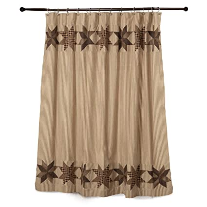 Rustic Country Black Eight Point Star Shower Curtain