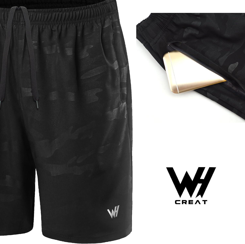 WHCREAT Herren Shorts mit Mesh-Design f/ür das Fitnesstraining