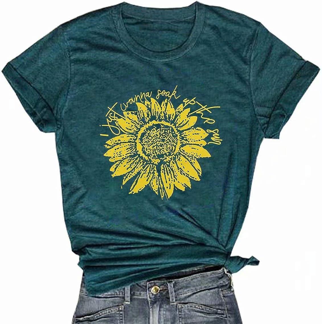 NANYUA I Just Wanna Soak Up The Sun T Shirt Women Funny Sunflower Vintage Faith Tops Tees Casual Short Sleeve Shirts Tops