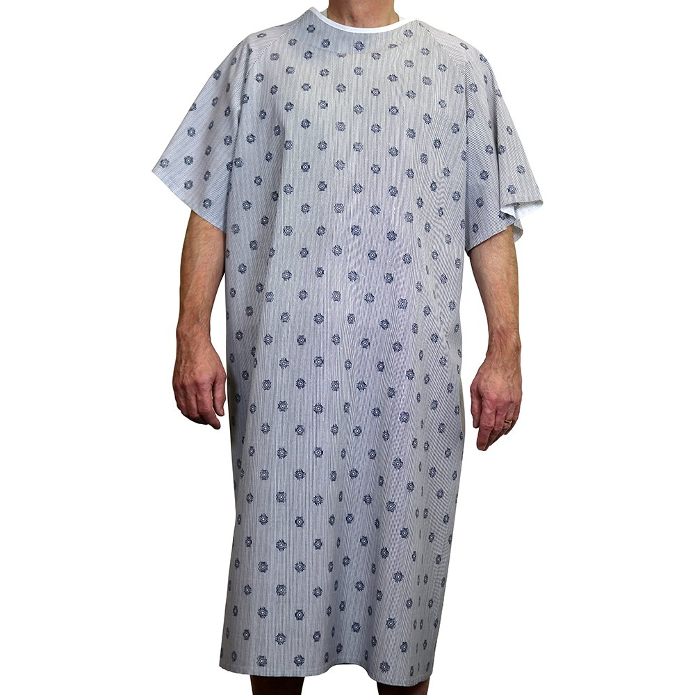 Sigmatex PG6849 Hospital Patient Gown, Overlapping Back, 49'' Length 68'' Sweep, Large, White/Blue, (60 ea) by Sigmatex