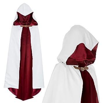 Capucha Capa para Guerrero Asesino Disfraz Blanco Rojo para Niños(110cm) dfd7c1d85d64
