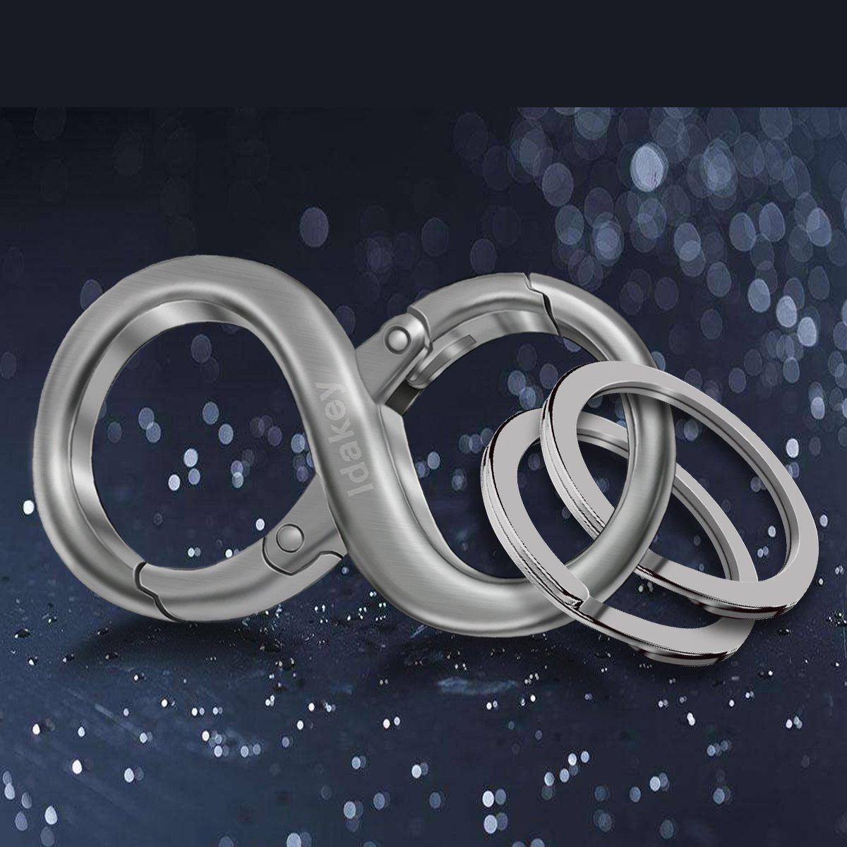 Idakey Zinc Alloy Detachable Key Chain with 2 Extra Key Rings Premium 8 Shape Car Business Keychain for Men and Women Grey