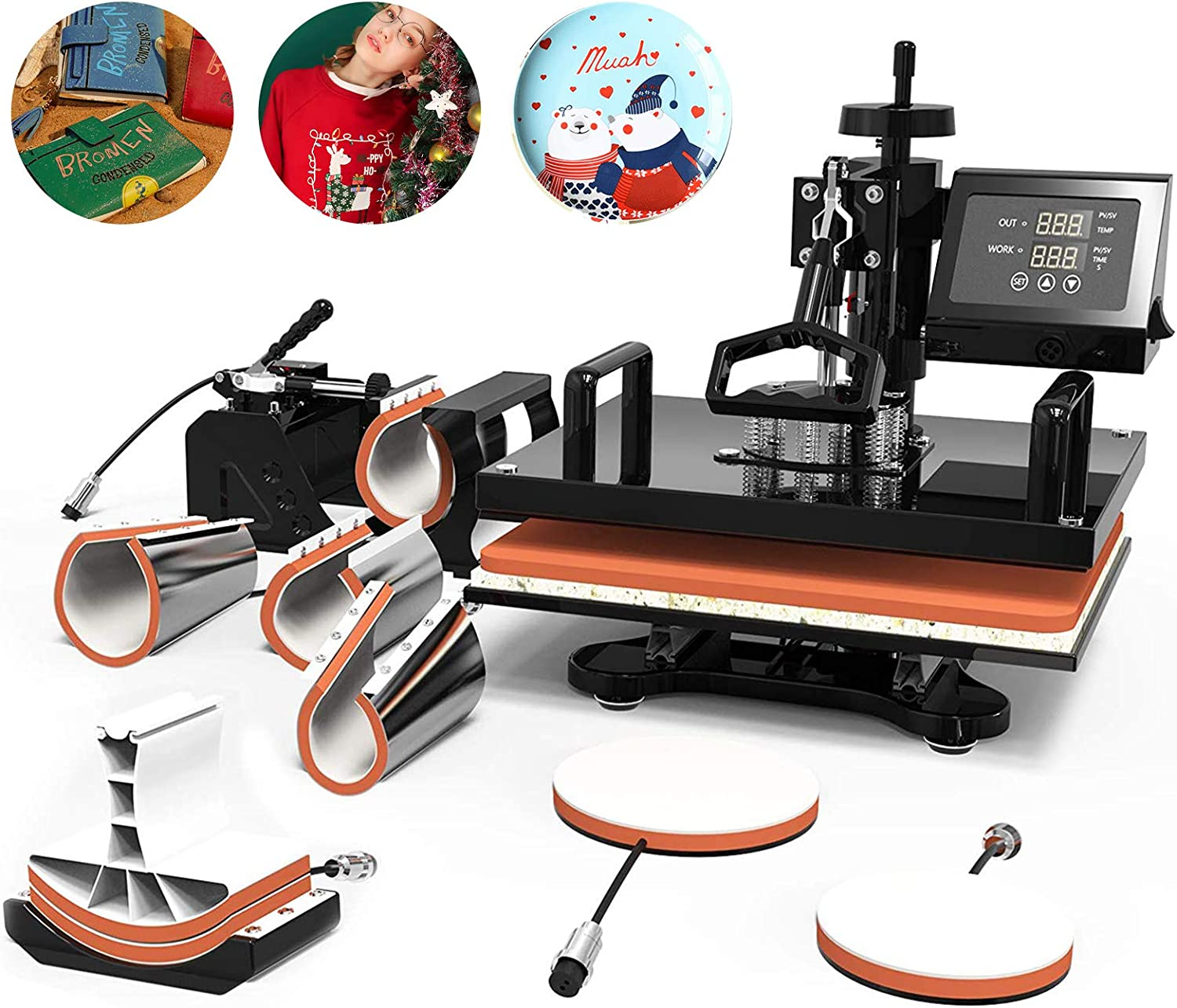 Heat Transfer Machine -SUNCOO 12x15 inches Swing-Away Digital 8 in 1 Heat Press Machine for T-Shirts Sublimation Hot Pressing Machine-Multipurpose Mug/Hat Plate/Cap Press,Combo Kit