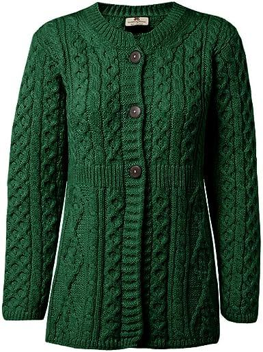 Carriag Donn Aran Sweater Made in Ireland for Women Merino Wool a Line Cardigan