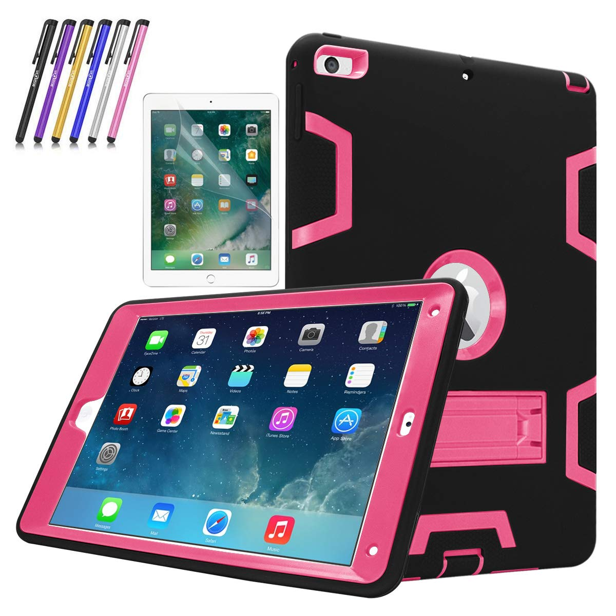 New iPad 9.7' 2018/2017 Case, Mignova Heavy Duty rugged Hybrid Protective Case with Build In Kickstand For Apple iPad 9.7 2018/2017 A1822/A1823 + Screen Protector Film and Stylus Pen (Gray / Purple) TWNIP9707