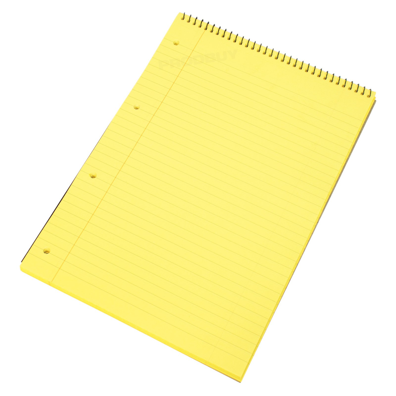 [Pack of 5] Spiral Memory Aid A4 Yellow 160 Page Paper Notepad Refill Legal Lined Writing Pads
