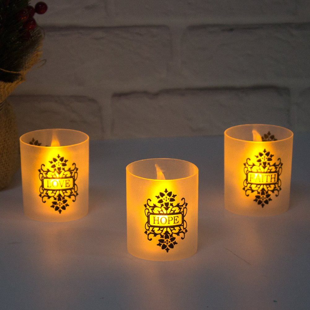 FAITH HOPE LOVE Frosted Plastic Glass Candle Votive Holders - Warm Yellow Flickering Powered By Battery,Wedding Party Chrismas Halloween Dining Table Home Decorations Set of 6 by LOGUIDE (Image #3)