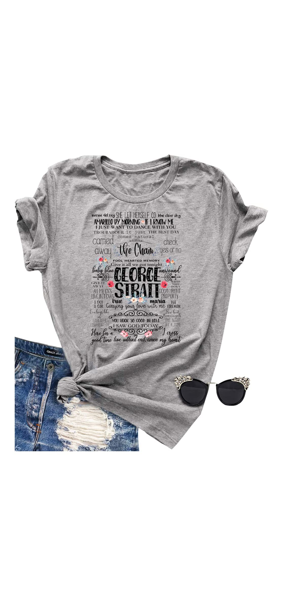 Vintage Country Music T Shirts Women Classic Songs Funny Letters