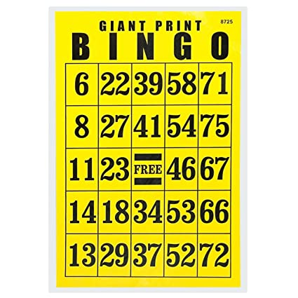 Amazon.com: Gigante Impresión Tarjeta De Bingo – Negro sobre ...