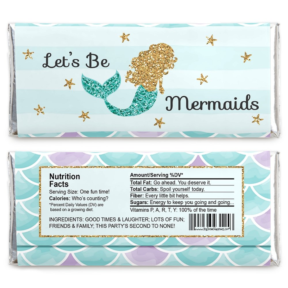 Amazon.com: Let\'s Be Mermaids - Candy Bar Wrappers Baby Shower Or ...