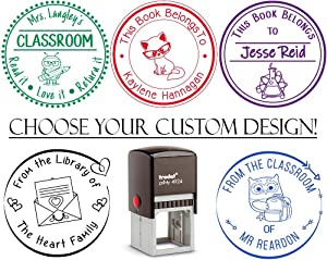 Teacher Library Personalized Stamp Self Inking Custom Book Belongs to Stamp Customized Personalized Rubber Stamp Stamper School Images Homework Home Work Grading Gift Completed with Help Ink