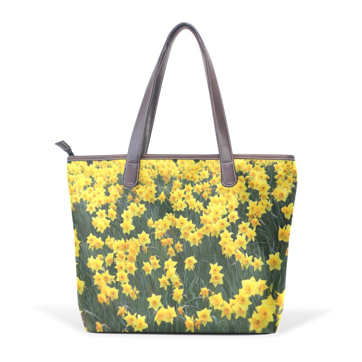 Ye Store Field Yellow Daffodil Flowers Lady PU Leather Handbag Tote Bag Shoulder Bag Shopping Bag
