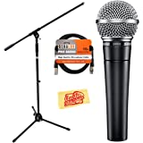 Shure SM58-LC Cardioid Dynamic Vocal Microphone Bundle with Boom Stand, XLR Cable, and Austin Bazaar Polishing Cloth