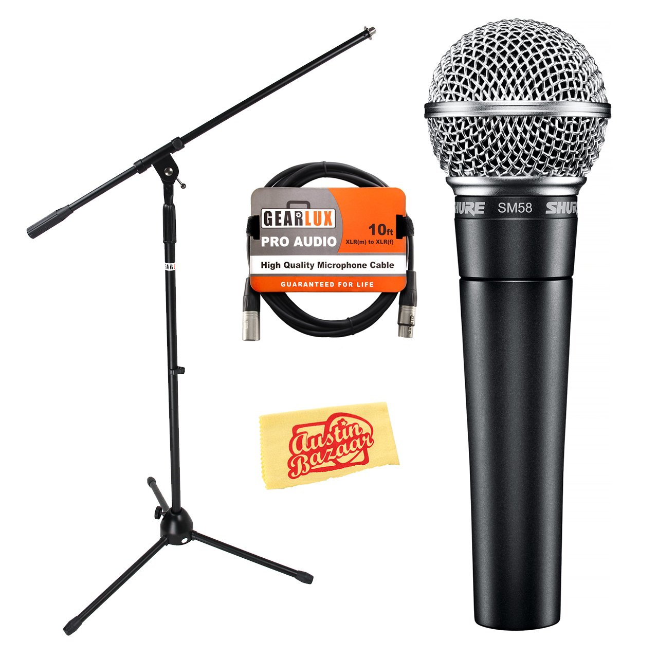 Shure SM58-LC Vocal Cardioid Dynamic Microphone Bundle with Gearlux Boom Stand, XLR Cable, Windscreen, and Austin Bazaar Polishing Cloth