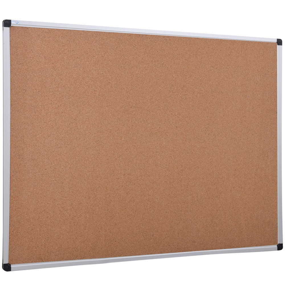 XBoard 24 x 18 inch Wall-Mounted Office Cork Board, Notice Bulletin Board with Aluminum Frame