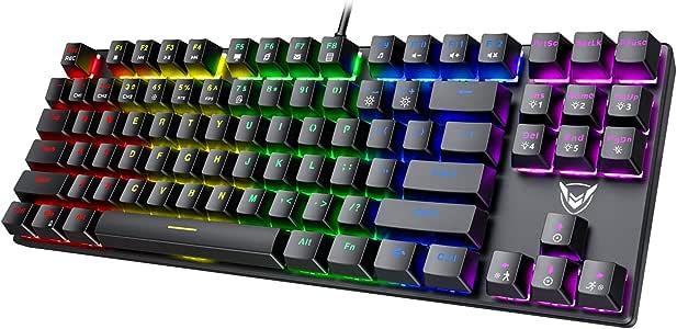 PICTEK TKL Mechanical Gaming Keyboard, RGB LED Rainbow Backlit 60% keyboard with Blue Equivalent Switches, 27 LED Lighting Modes, 100% Anti-Ghosting Tenkeyless Keyboard for Windows PC/MAC Games