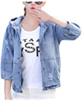 New Summer Fashion Denim Jackets 3/4 Sleeve Oversized Jeans Jacket Women Loose Sequin Hooded