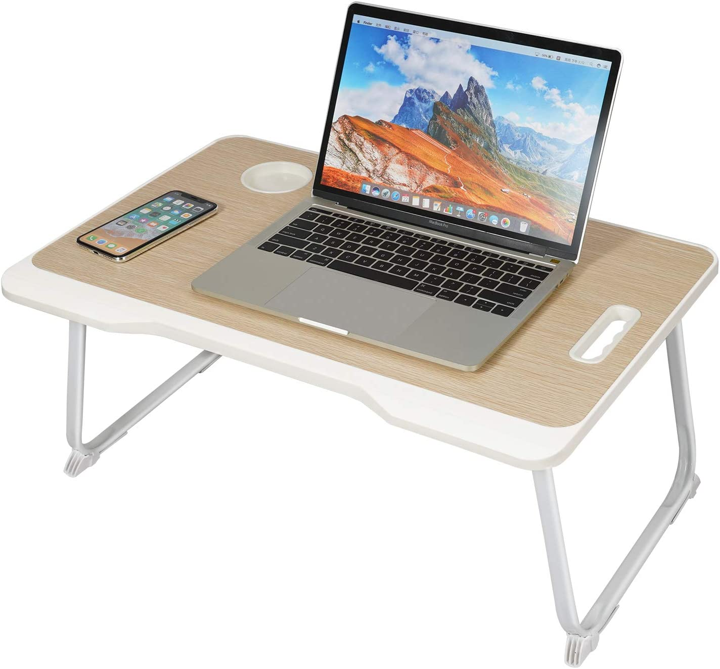 Laptop Bed Tray Table with Handle,Portable Lap Desk,Notebook Stand Reading Holder with Foldable Legs&Cup Slot&Tablet Groove for Eating Breakfast,Reading,Watching Movie on Bed/Sofa(60 x 42cm) (white)