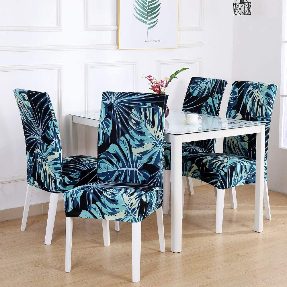 BCKAKQA Dining Chair Covers Grey Yellow Leaf Dining Chair Slipcovers Set of 4 Soft Stretch Spandex Removable Washable Chair Covers Protectors for Dining Room Wedding Banquet Party Chair Decor
