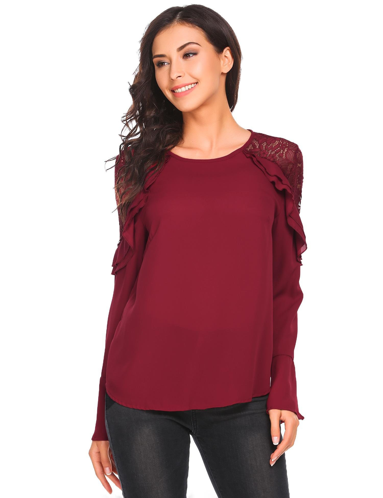Bulges Ladies Sexy Off Shoulder Flare Sleeve Lace Tops Casual Solid Loose Crochet T-Shirt Blouse Red, Size M