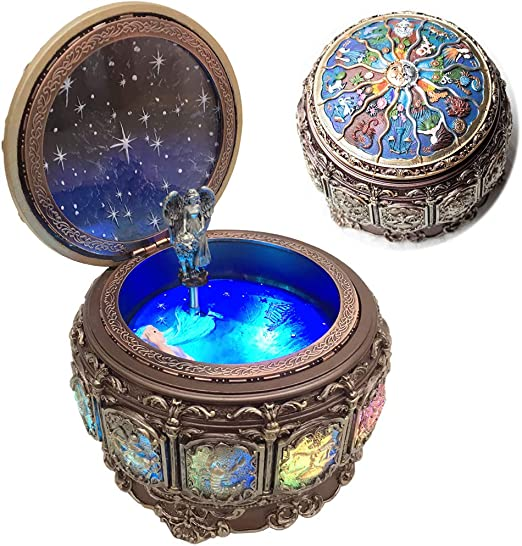 Amperer Vintage Music Box with Constellations Rotating Goddess LED Lights Twinkling Resin Carved Mechanism Musical Box with Sankyo 18-Note Wind Up Signs of The Zodiac Gift for Birthday (Upgraded)