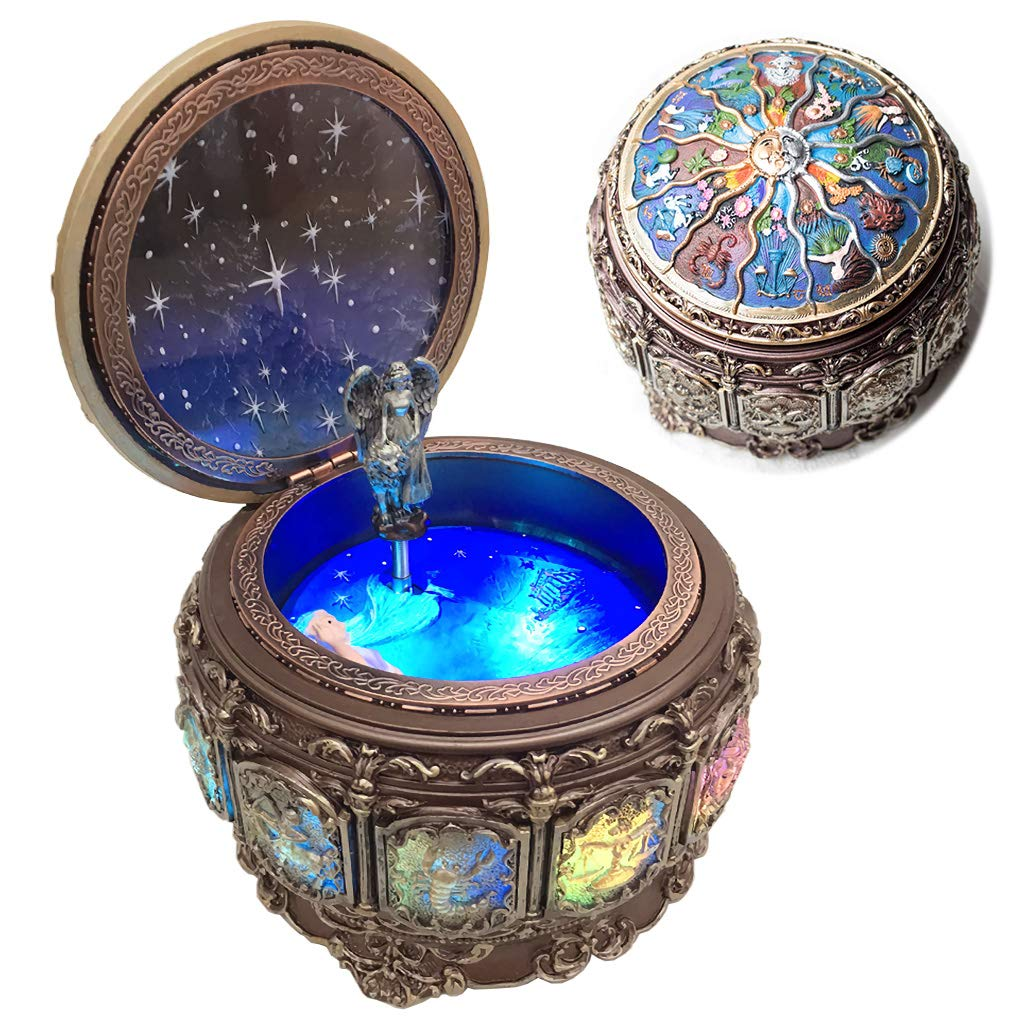 Amperer Vintage Music Box with Constellations Rotating Goddess LED Lights Twinkling Resin Carved Mechanism Musical Box with Sankyo 18-Note Wind Up Signs of The Zodiac Gift for Birthday (Upgraded) by Amperer