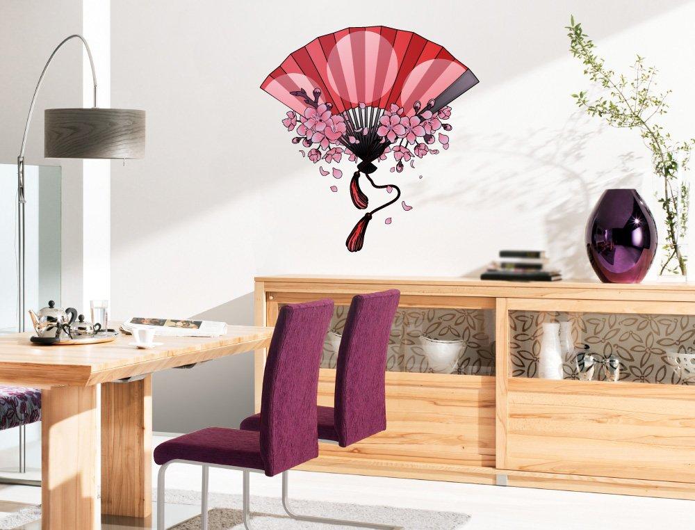 Pegatina de pared Salón Asia Abanico de mano rojo con delicadas flores de cerezo Asia Deco para encolar Japón China geisha bordadoras casilleros ornato: ...