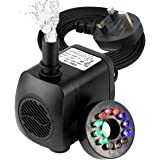 Submersible Pump, GOCHANGE Mini Electric Fountain Water Pump with 12 LED Light for Aquarium Fish Tank Fountain Pool Garden Pond UK Plug