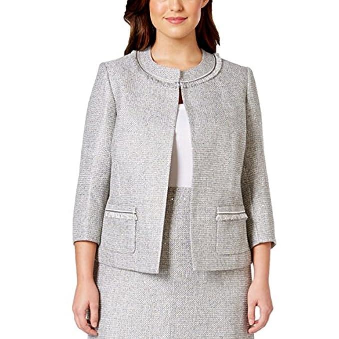 ae82a0c882f Tahari Women s Gray Plus Size Fringe-trim Boucle Jacket Silver 24W   Amazon.ca  Clothing   Accessories