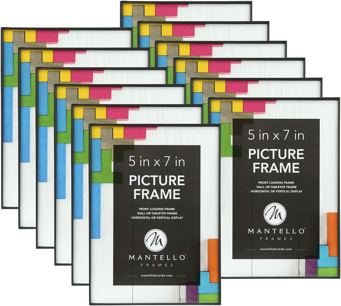 Mantello Front Loading Picture Frame 5x7 Inch, Black, 12-Pack